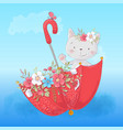 Cute cartoon cat in an umbrella with flowers