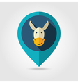 Donkey flat pin map icon Animal head vector image vector image