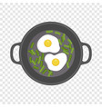 egg on griddle icon flat style vector image vector image