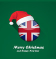 flag of united kingdom merry christmas and happy vector image