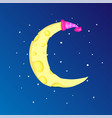 fun cartoon yellow crescent moon with cap among vector image vector image
