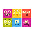 funny monster faces set colorful square mutant vector image vector image
