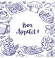 hand drawn restaurant elements background vector image vector image