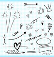 hand drawn set elements arrow heart love vector image vector image