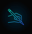 hand with a pencil blue icon or logo vector image vector image