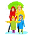 happy familt in raincoats standing with umbrella vector image vector image