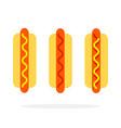 hot dog with mustard hot dog with ketchup hot dog vector image