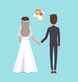 husband and wife at wedding ceremony with angel vector image vector image