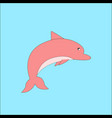 images of pink dolphin jumping out of the vector image