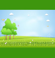 landscape mound and trees background paper art vector image