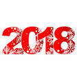 new year 2018 red number with white snowflakes vector image vector image