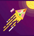 pizza and cheese moon vector image vector image