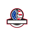 Plumber Hand Holding Pipe Wrench Flag Circle vector image vector image