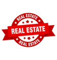 real estate ribbon real estate round red sign vector image vector image