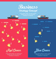 red ocean and blue ocean business strategy vector image vector image
