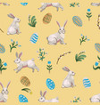 rustic seamless pattern with trees rabbits eggs vector image