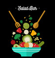 salad bar concept with healthy vegetable food vector image vector image