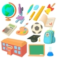 School icons set in cartoon style vector image vector image