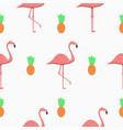 seamless pattern with flamingos and pineapples vector image