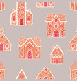 seamless pattern with gingerbread houses on light vector image