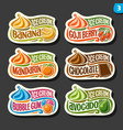 set fruit ice cream labels vector image vector image