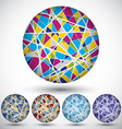 Set of bright segmented knitted spheres geometric vector image