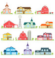 set of flat icon suburban american houses vector image