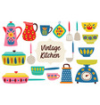 set of isolated vintage kitchen utensils part 2 vector image