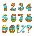 Set of numbers and symbols vector image