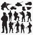 silhouettes of army vector image vector image