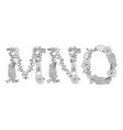 tropical floral letter mno vector image