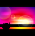 Twilight silhouette hand hold a bar vector image