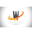 w letter logo with fire flames design and orange vector image vector image