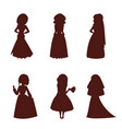 wedding brides characters silhouette vector image