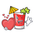 with heart bloody mary mascot cartoon vector image