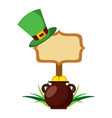 wooden board with pot coins and hat of leprechaun vector image vector image