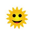 Bright yellow sun smiling vector image