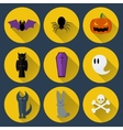 Set of flat design Halloween icons vector image