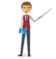 businessman or teacher with a pointer vector image