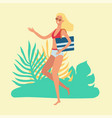 attractive blonde woman goes to beach runs or vector image vector image