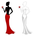Beautiful girl in a red dress vector image vector image