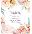 beautiful wedding card with watercolor flowers vector image vector image