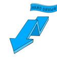 blue arrow down sign hand drawn sketch vector image vector image