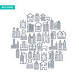 buildings and immovables lined icons set vector image vector image