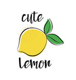 card with cute lemon isolated on white vector image vector image