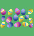 colored eggs with a simple pattern on a light vector image