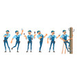 colorful electrician characters set vector image