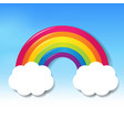 colorful rainbow with clouds blue sky vector image