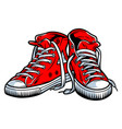 colorful red trendy sneakers concept vector image vector image