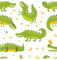 cute crocodiles seamless pattern wild african vector image